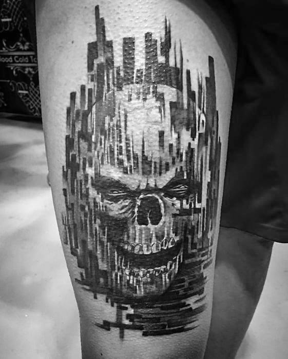 Black And Grey Ink Skull Thigh Awesome Pixel Tattoos For Men