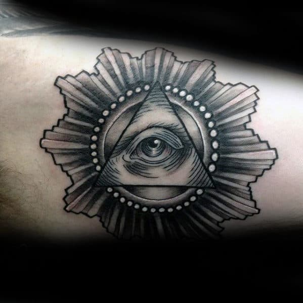 Black And Grey Inner Arm Bicep Eye Of Providence Tattoos For Males