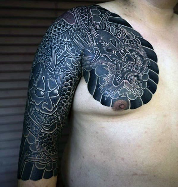 Black And Grey Japanese Dragon Guys Shaded Upper Chest Tattoo