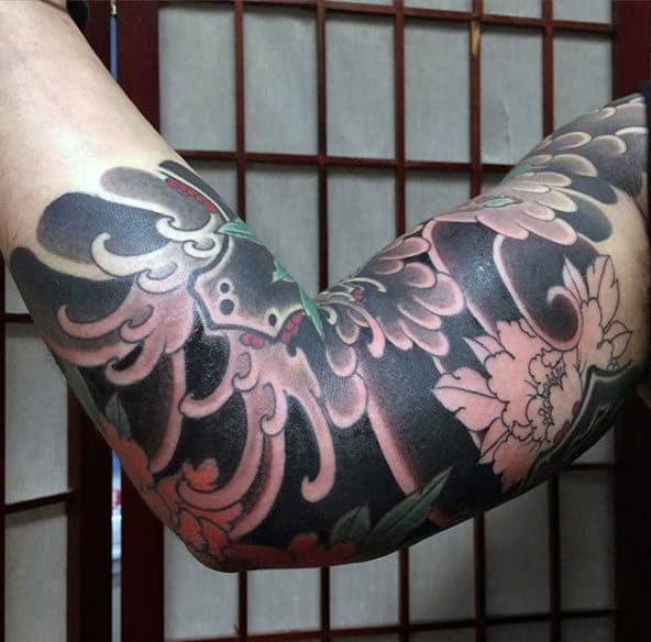 Black And Grey Japanese Sleeve Tattoo For Men
