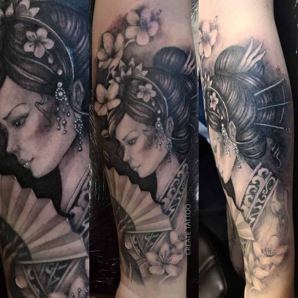 Black And Grey Jewels Ink Sleeve Tattoo