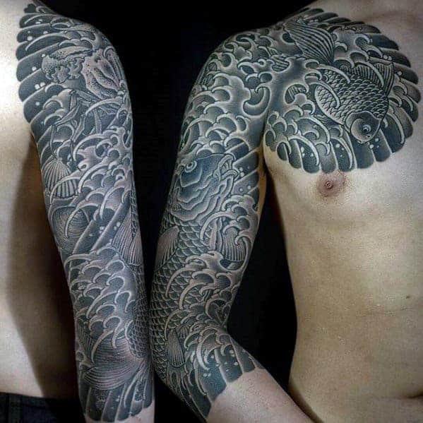 black-and-grey-koi-fish-with-waves-mens-japanese-half-sleeve-tattoo