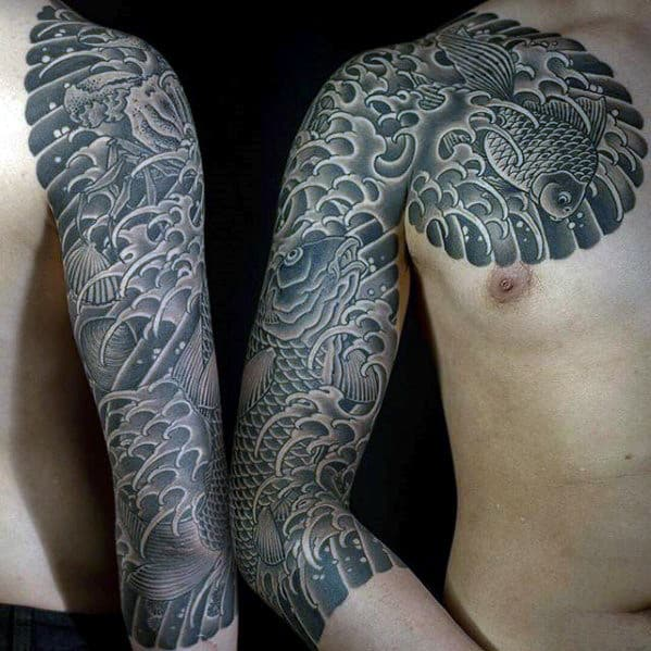 Black And Grey Koi Fish With Waves Mens Japanese Half Sleeve Tattoo