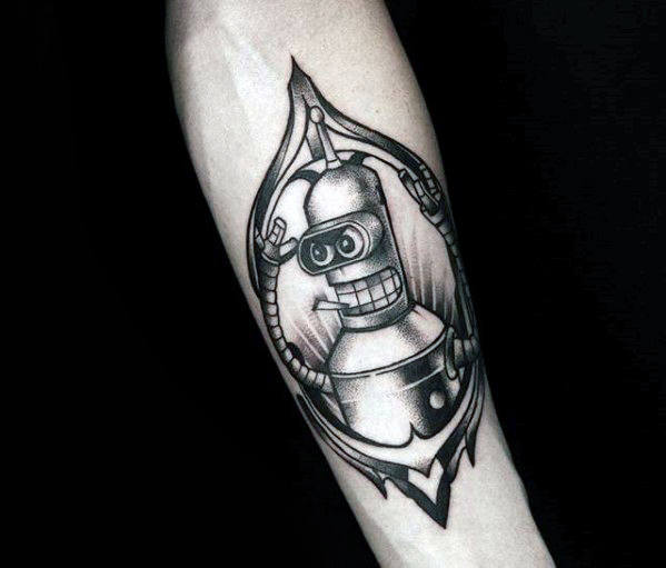 Black And Grey Male Bender Inner Forearm Tattoos