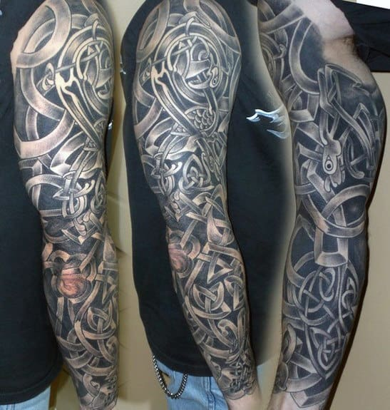 Black And Grey Male Celtic Sleeve Tattoo Design Ideas