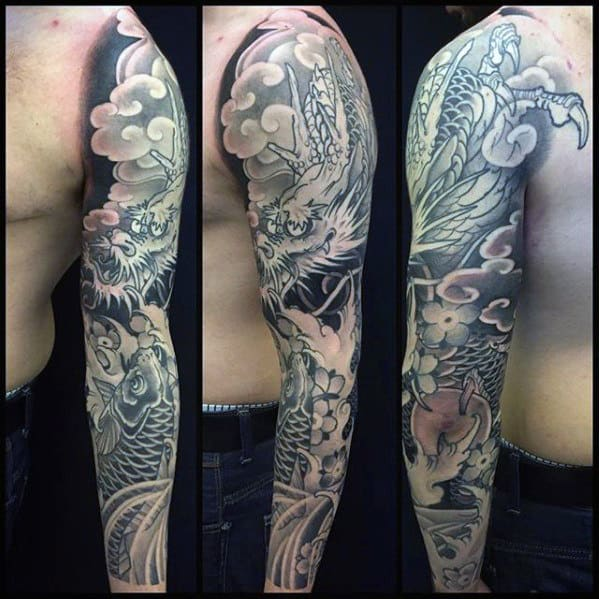 Black And Grey Male Dragon Arm Sleeve Japanese Tattoo Ideas