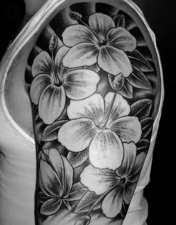 Black And Grey Male Hibiscus Half Sleeve Inspiration For Tattoos