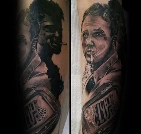 Black And Grey Male Themed Tattoo Of Fight Club Characters