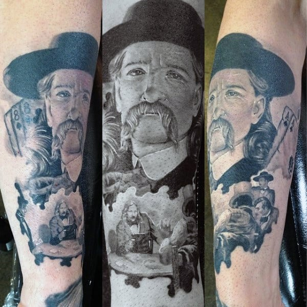 Black And Grey Man With Mustache Cards Gambling Tattoo On Man