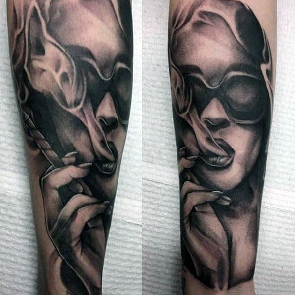 Black And Grey Marla Singer Fight Club Mens Forearm Sleeve Tattoos