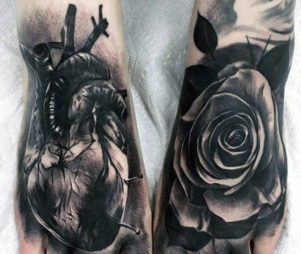 Black And Grey Mens 3d Heart Tattoo Designs