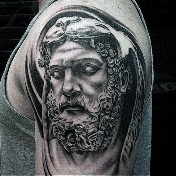 Black And Grey Mens Hercules Upper Arm Tattoo With 3d Design