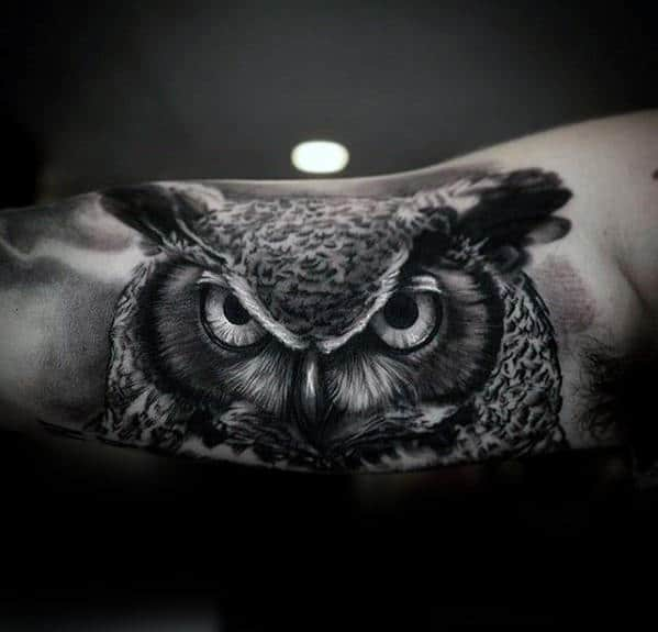 Black And Grey Owl Inner Arm Realistic Tattoo Designs For Men
