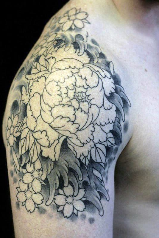 Black And Grey Peony Male Quarter Sleeve Tattoo