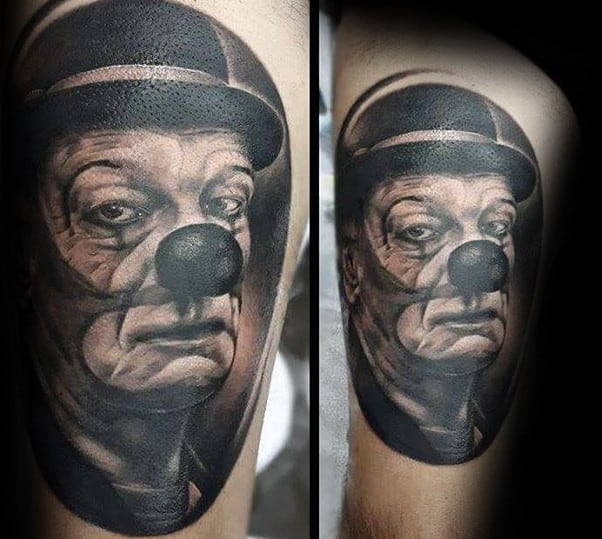 Black And Grey Portrait Of Clown Mens Thigh Tattoos