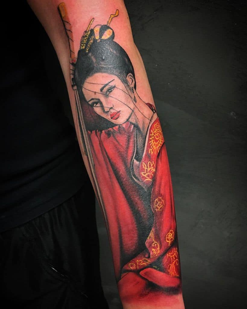 Black And Grey Realistic Kwadron Geisha Tattoo