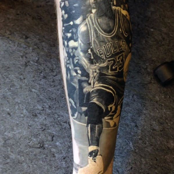 Black And Grey Realistic Mens Forearm Jordan Tattoo