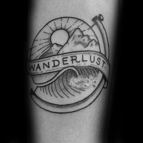 Black And Grey Sall Wanderlust Globe With Mountains Guys Forearm Tattoo