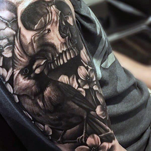 Black And Grey Shaded Cardinal Mens Half Sleeve Tattoos