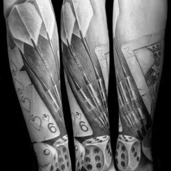Black And Grey Shaded Forearm Dart Male Tattoos