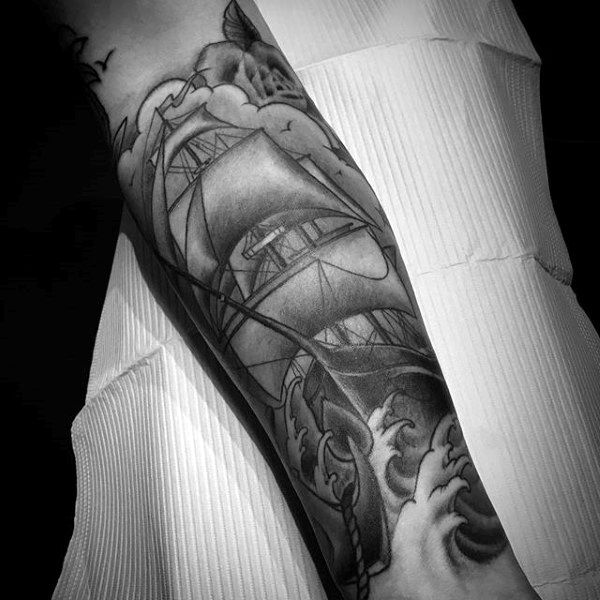 Black And Grey Shaded Guys Forearm Nautical Tattoo Design Of Ship