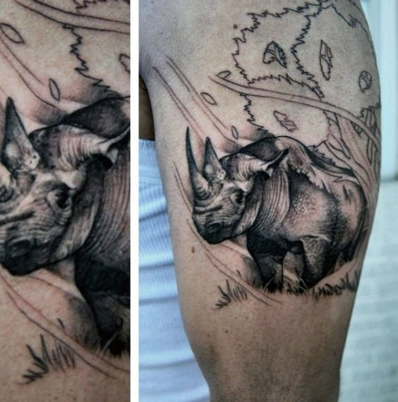 Black And Grey Shaded Guys Rhino Leg Calf Tattoos