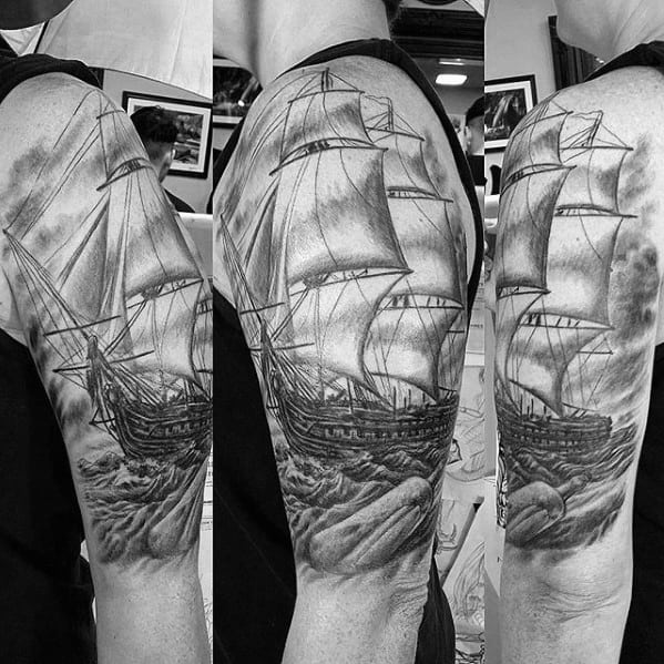 Black And Grey Shaded Half Sleeve Sailing Ship Male Message In A Bottle Tattoo Designs