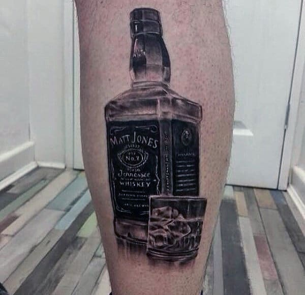 Black And Grey Shaded Jack Daniels Leg Calf Tattoos For Gentlemen
