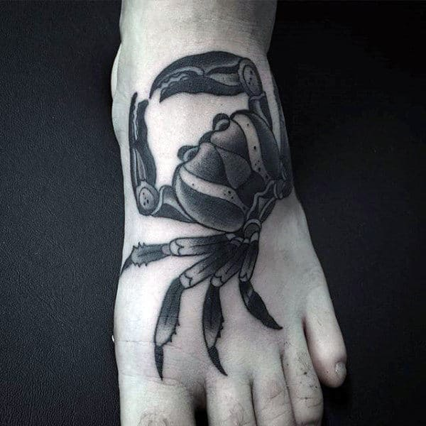 Black And Grey Shaded Male Crab Tattoo On Foot