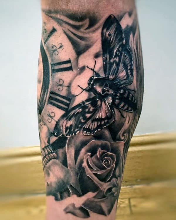 Black And Grey Shaded Male Moth Leg Sleeve Tattoo Ideas