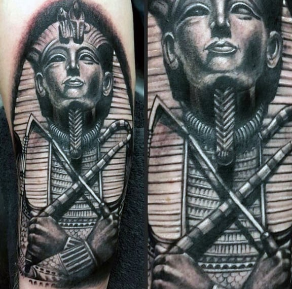 Black And Grey Shaded Male Tattoo Of King Tutankhamun