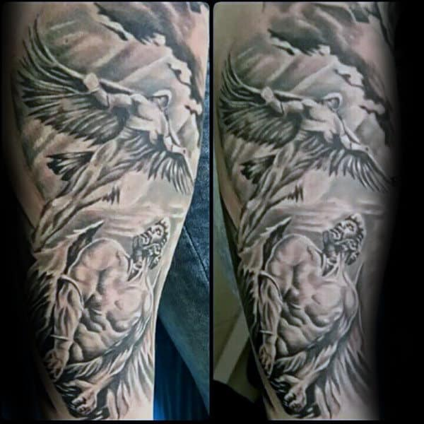Black And Grey Shaded Mens Icarus Sleeve Tattoo Ideas