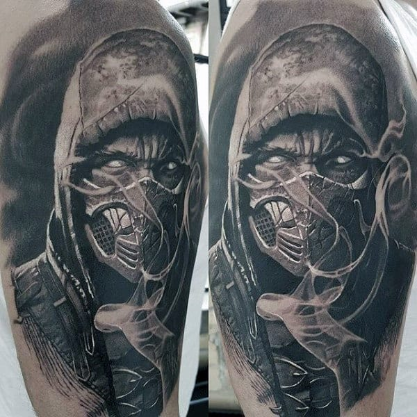 Black And Grey Shaded Mens Realsitic Mortal Kombat Tattoo Half Sleeve