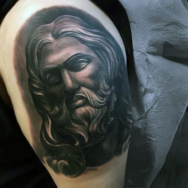 Black And Grey Shaded Mens Upper Arm Jesus Tattoo