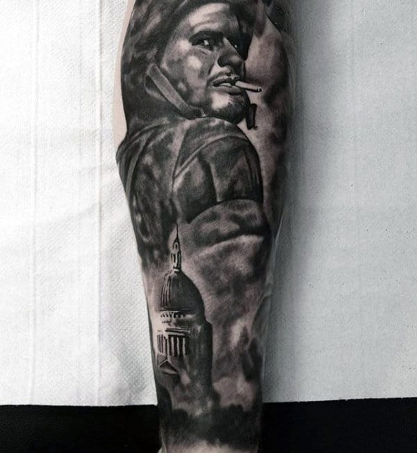 Black And Grey Shaded Mens Ww2 Leg Sleeve Tattoo
