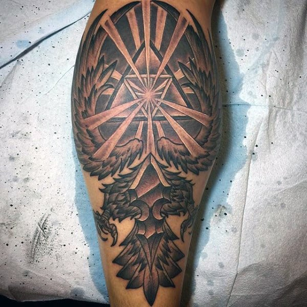 Black And Grey Shaded Mens Zelda Leg Calf Tattoos