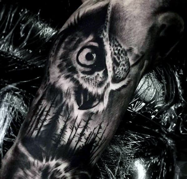 Black And Grey Shaded Owl Forest Mens Forearm Tattoos