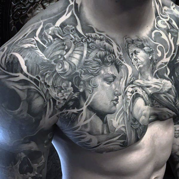 Black And Grey Shaded Roman Guys Badass Upper Chest Tattoo