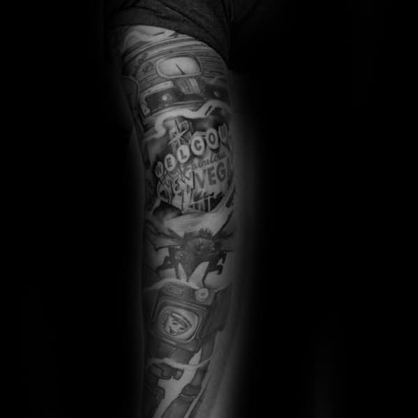 Black And Grey Shaded Sleeve Fallout Tattoo Ideas For Gentlemen