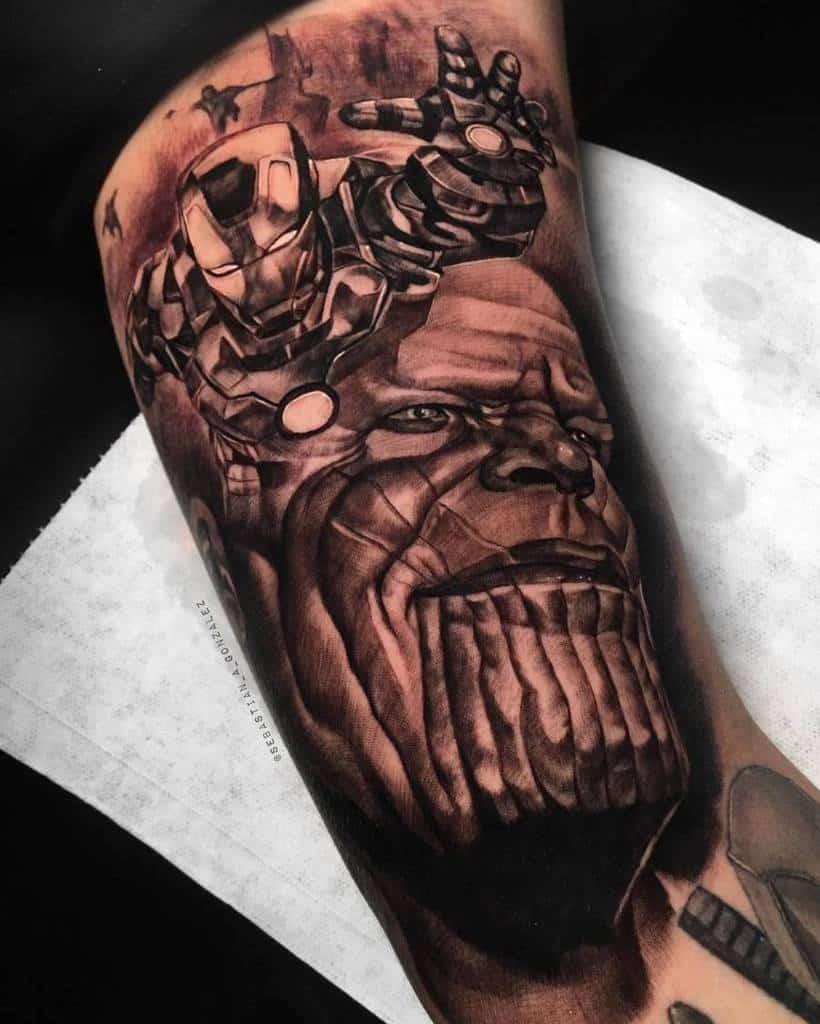 Black And Grey Thanos Tattoo Cbastian.ink