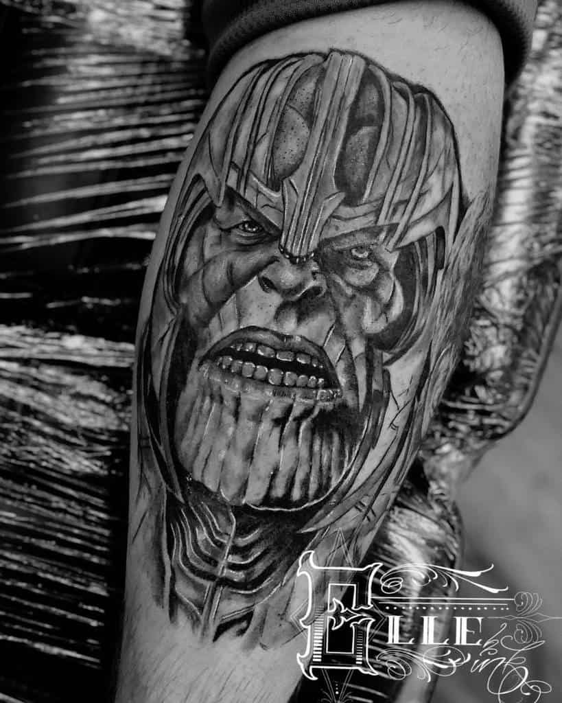 Black And Grey Thanos Tattoo Elle Ink
