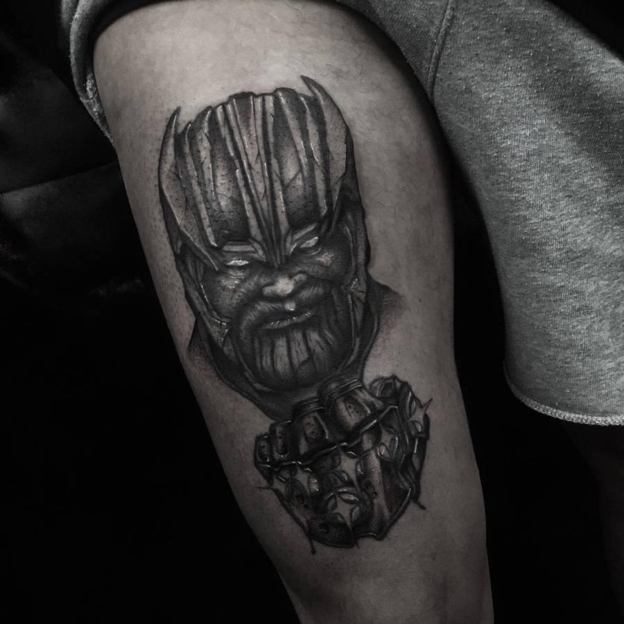Black And Grey Thanos Tattoo Hazydotstattoo
