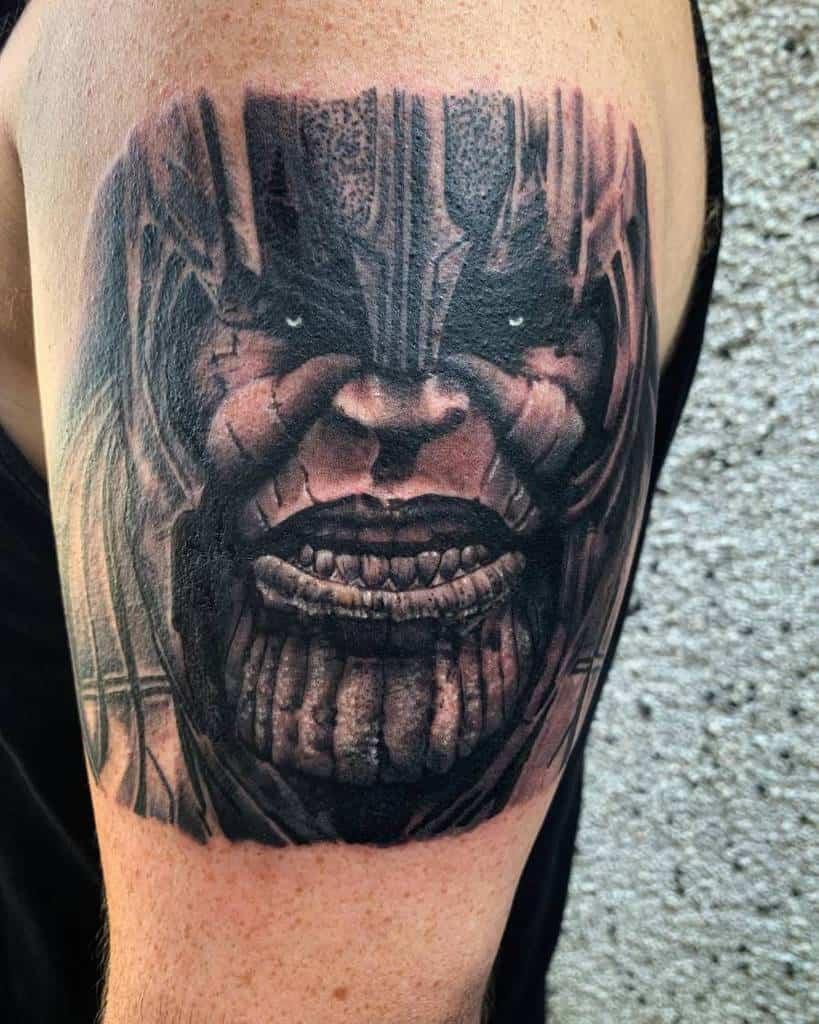 Black And Grey Thanos Tattoo Midgardcadaver Tattoo