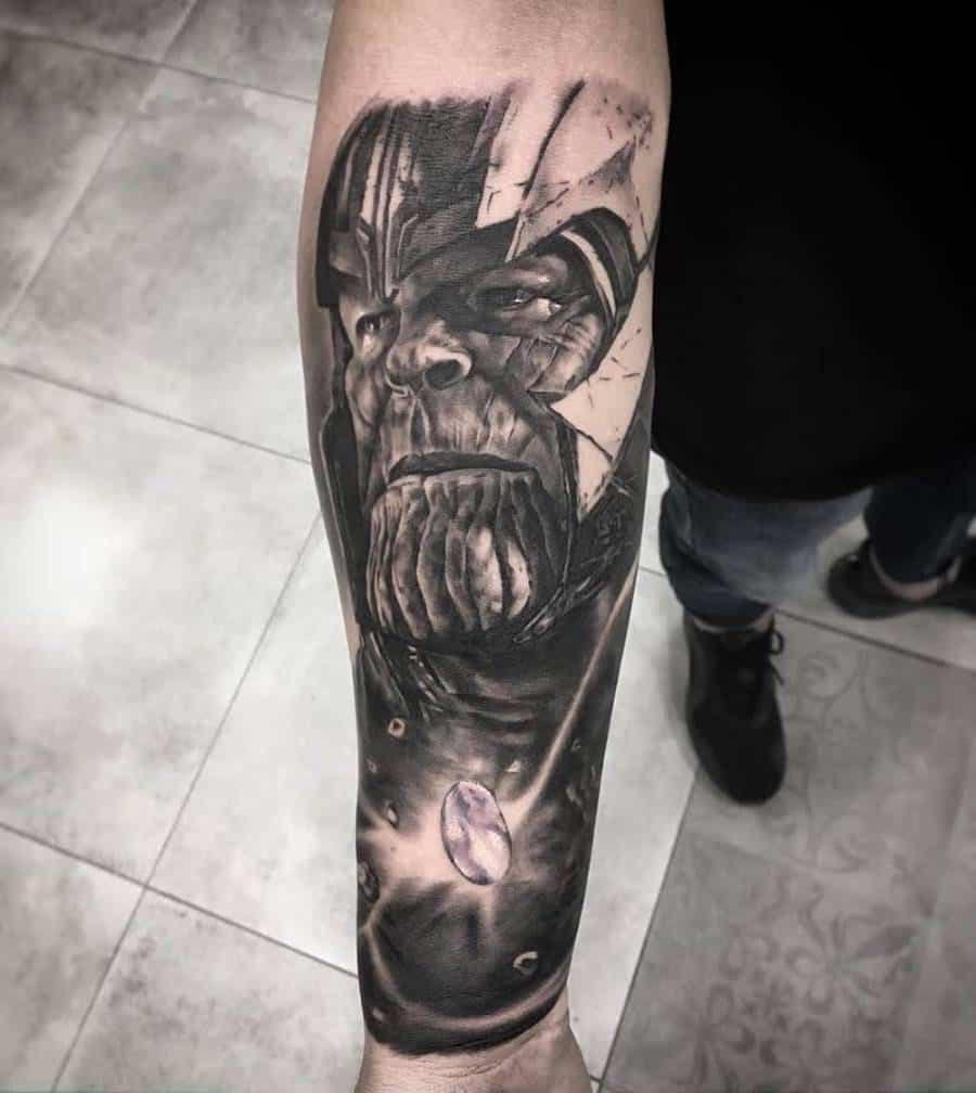 Black And Grey Thanos Tattoo Overdosearttattoo