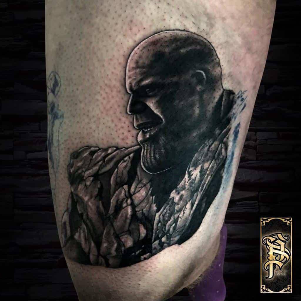 Black And Grey Thanos Tattoo Sp.tattooartist