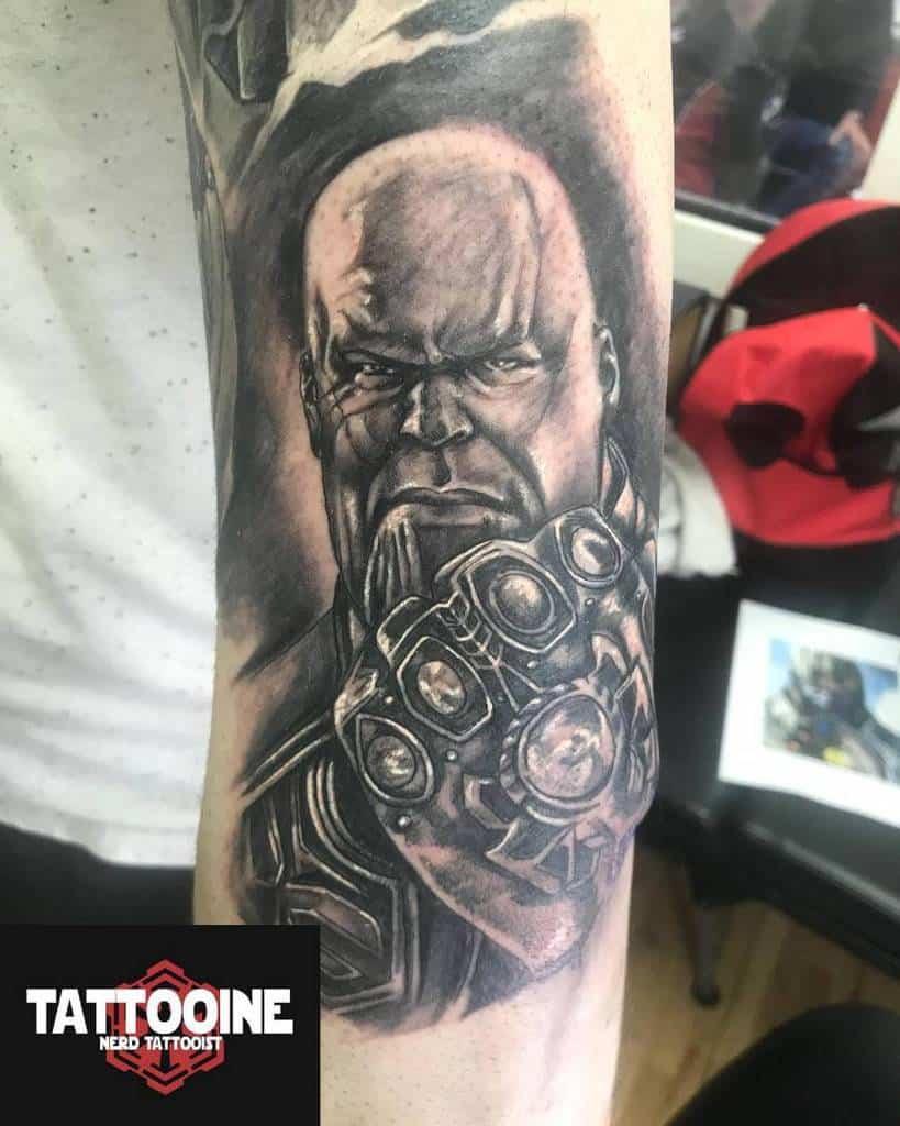 Black And Grey Thanos Tattoo Tattooinetattoo