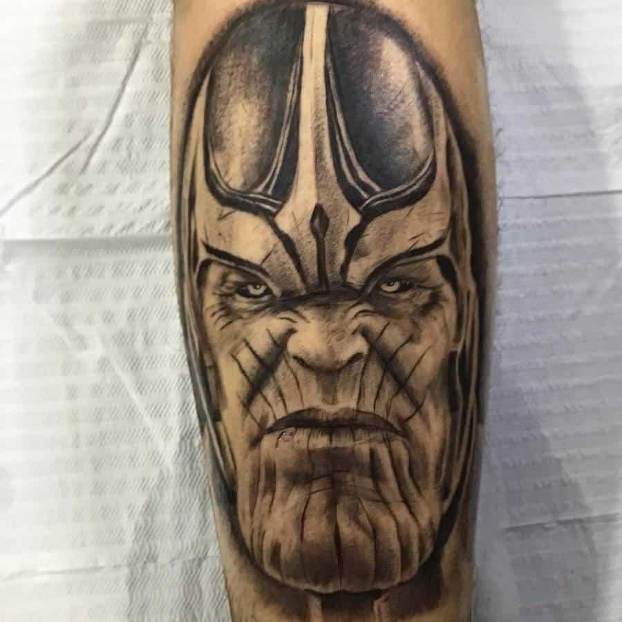 Black And Grey Thanos Tattoo Vine Tattoo