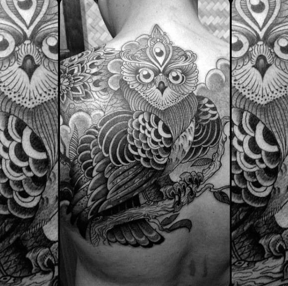 Black And Grey Three Eyed Owl Mens Back Tattoo