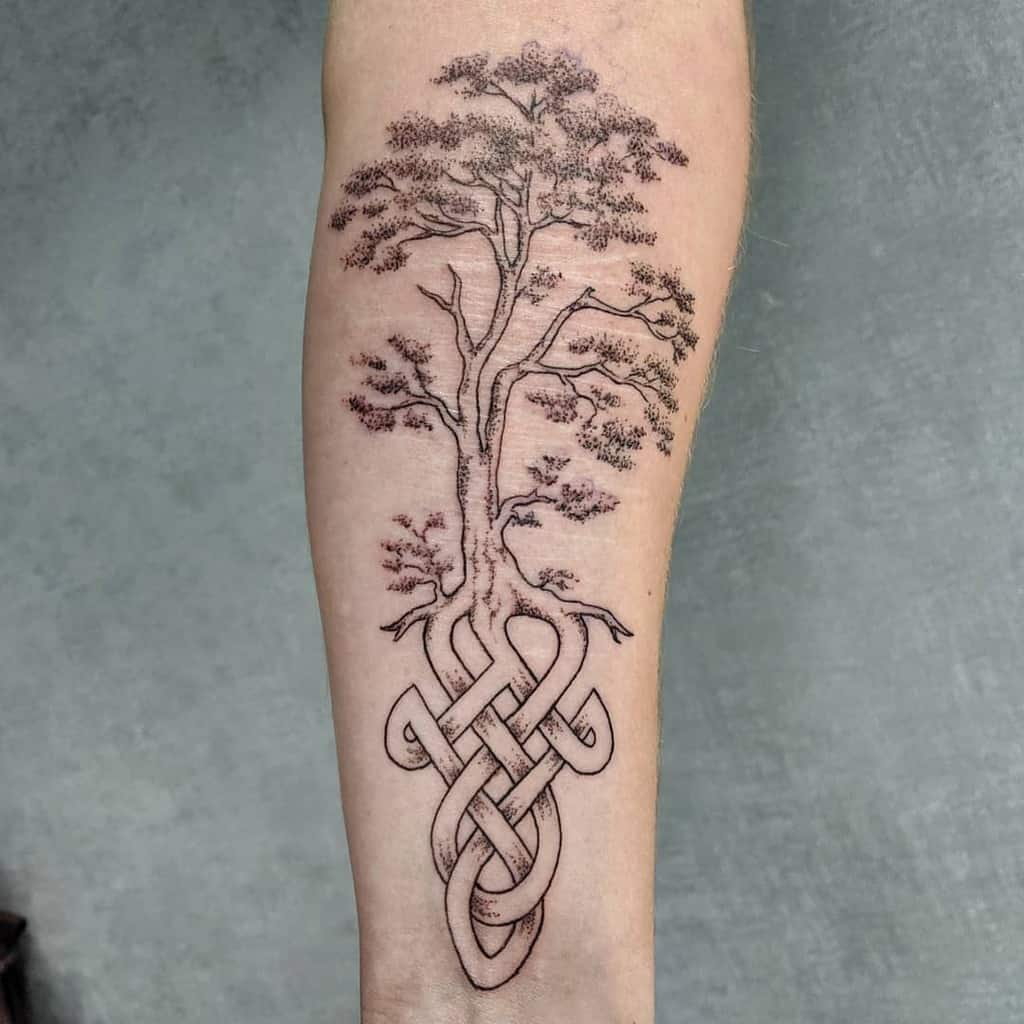 black and grey tree yggdrasil tattoo