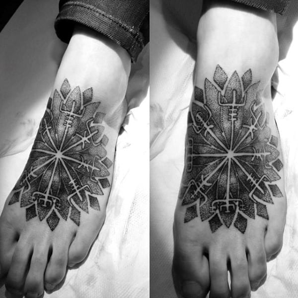 Black And Grey Tribal Design Foot Tattoo For Male